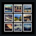 "Modern Gallery Style 9 Instagram Photo Collage Poster<br><div class=""desc"">Choose nine of your favorite instagram or square cropped photographs on this bold poster. Each of your photographs are framed in a grid layout inside simple white square frames, and shown on a black background. You can easily change the background color using the customization options. This would look great with...</div>"