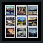 """Modern Gallery Style 9 Instagram Photo Collage Poster<br><div class=""""desc"""">Choose nine of your favorite instagram or square cropped photographs on this bold poster. Each of your photographs are framed in a grid layout inside simple white square frames, and shown on a black background. You can easily change the background color using the customization options. This would look great with...</div>"""