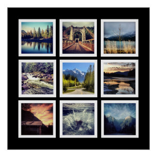 Modern Gallery Style 9 Instagram Photo Collage Poster
