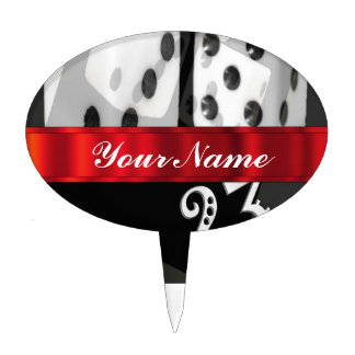 Modern gambling dice oval cake toppers