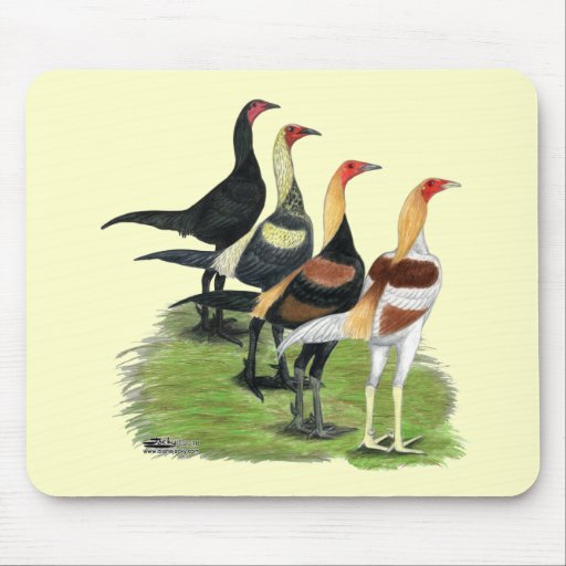 Modern Game Roosters Mouse Pad