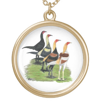 Modern Game Roosters Round Pendant Necklace