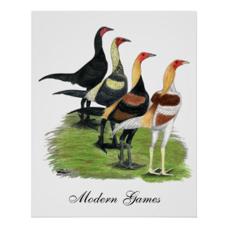 Modern Game Roosters Print