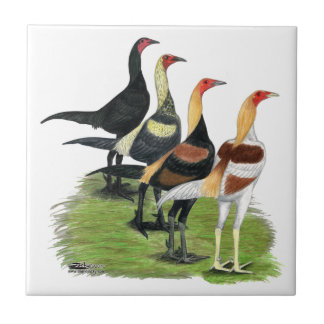 Modern Game Roosters Tiles