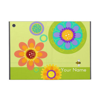 Modern Garden graphic flowers and bumble bee green iPad Mini Covers