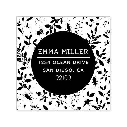Modern Garden Print Custom Name Return Address Self_inking Stamp