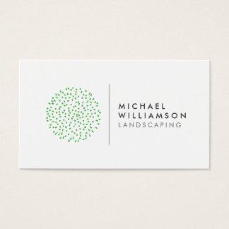 Modern Gardener Landscaping Logo on White Business Card