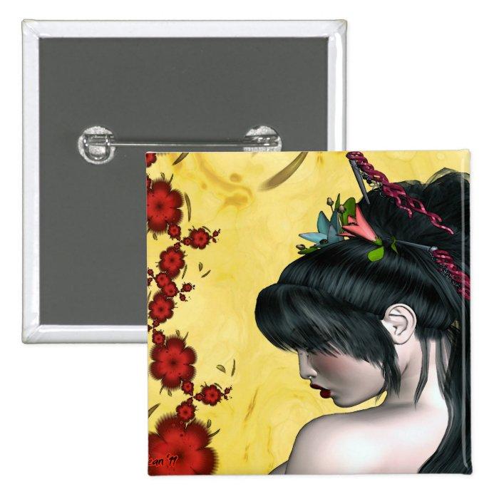 Modern Geisha Pinback Button