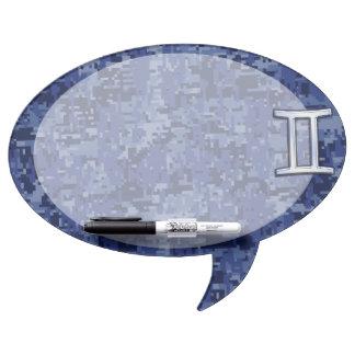 Modern Gemini Zodiac Sign Navy Blue Digital Camo Dry Erase Board