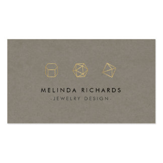 Modern Gemstone Trio Logo III Jewelry Designer Double-Sided Standard Business Cards (Pack Of 100)