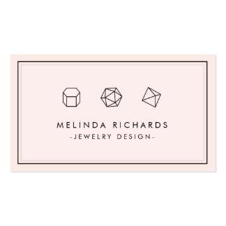 Modern Gemstone Trio Logo Pink Jewelry Designer Business Card
