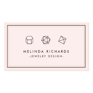 Modern Gemstone Trio Logo Pink Jewelry Designer Double-Sided Standard Business Cards (Pack Of 100)