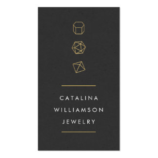 Modern Gemstone Trio Logo Vertical Jewelry Design Double-Sided Standard Business Cards (Pack Of 100)