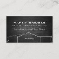 Modern General Construction Chalk Business Cards