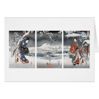 Modern Genji Triptych Greeting Card