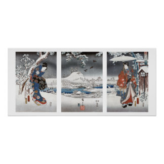 Modern Genji Triptych Poster