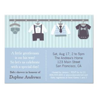 "Modern Gentleman Baby Boy Shower Invitations 4.25"" X 5.5"" Invitation Card"