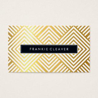 MODERN GEO DIAMOND PATTERN trendy simple gold foil Business Card