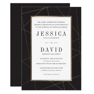 Modern Geo faux foil wedding invitation