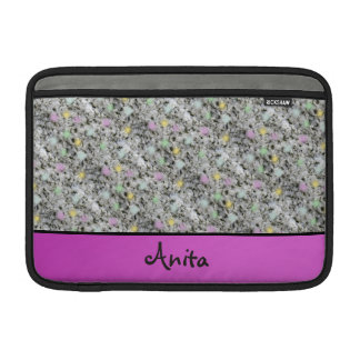 Modern Geology Granite Pastel Dots any Name Pink Sleeve For MacBook Air