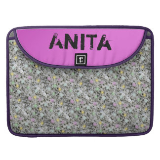 Modern Geology Granite Pastel Dots any Name Pink Sleeve For MacBooks