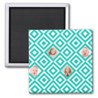 Modern Geometric 4 Photo Collage in Teal Magnet