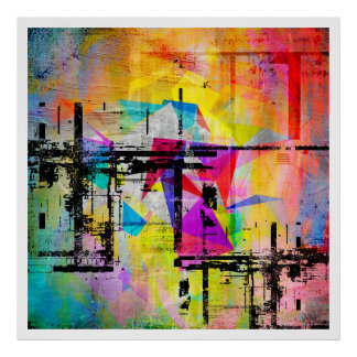Modern Geometric Abstract Colorful Art Poster