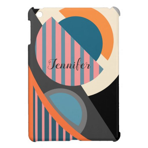 Modern geometric abstract & custom name case for the iPad mini