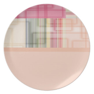 Modern Geometric Abstract Pastel Squares Melamine Plate