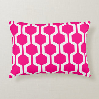 Modern Geometric Accent Pillow - Hot Pink