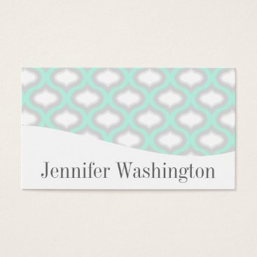 Professional Business Modern Geometric Aqua & Grey Waves Business Card
