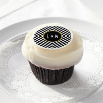 Modern Geometric Black and White Diamond Pattern Edible Frosting Rounds