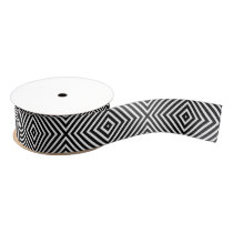 Modern Geometric Black and White Diamond Pattern Grosgrain Ribbon