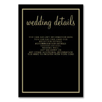 modern geometric black gold wedding details card
