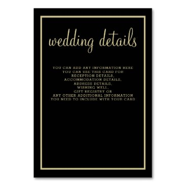 modern geometric black gold wedding details card