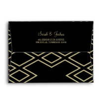 modern geometric black gold wedding envelopes