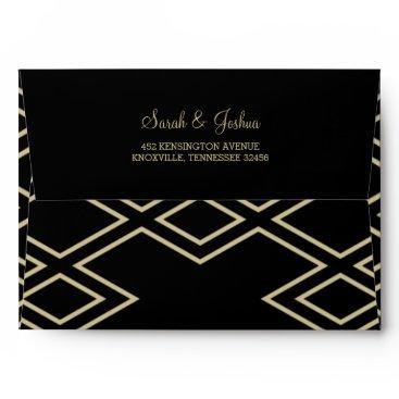 modern geometric black gold wedding envelopes