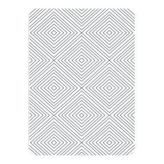 "Modern Geometric Black Squares Pattern on White Co 4.5"" X 6.25"" Invitation Card"