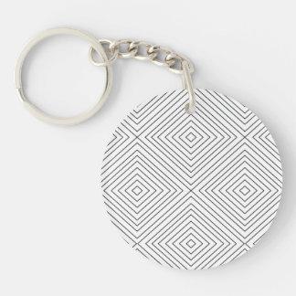 Modern Geometric Black Squares Pattern on White Co Keychain