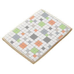 Modern Geometric Block Pattern Shortbread Cookie