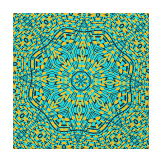 Modern Geometric Blue Orange Kaleidoscope Pattern Canvas Print