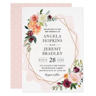 Modern Geometric Blush Bloom Floral Chic Wedding Card