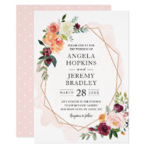 Modern Geometric Blush Bloom Floral Chic Wedding Invitation