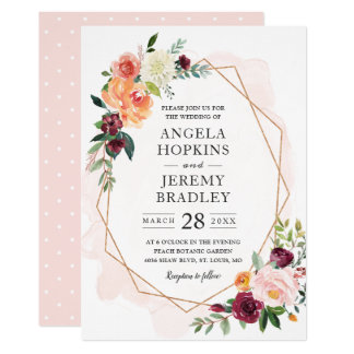 Modern Geometric Blush Bloom Floral Chic Wedding Invitation