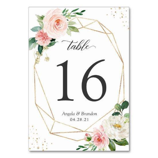 Modern Geometric Blush Floral Wedding Table Number