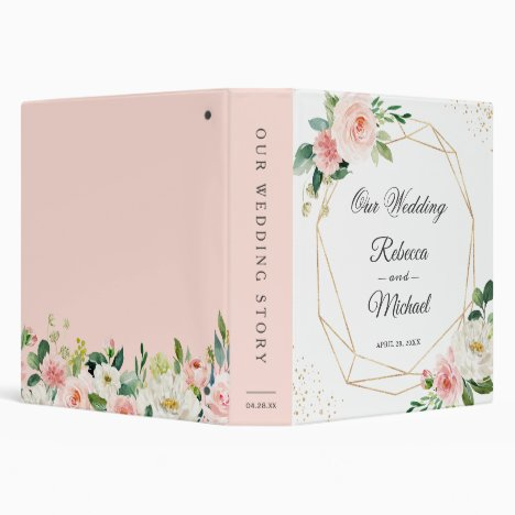 Modern Geometric Blush Pink Floral Wedding Album 3 Ring Binder