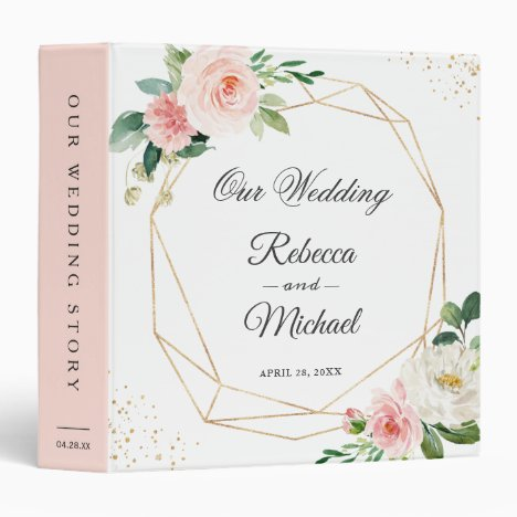 Modern Geometric Blush Pink Floral Wedding Album 3 Ring Binder