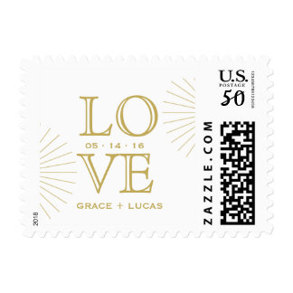 Modern Geometric Burst Love Postage Stamp