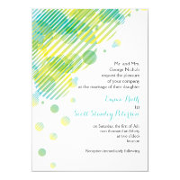 Modern geometric circles aqua, yellow wedding card