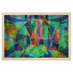 Modern Geometric Colorful Abstract Art Wood Poster
